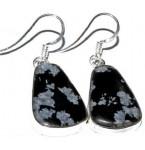 Zilveren Oorbellen Sneeuwvlok Obsidiaan