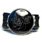 Lederen Armband Engraved Rose