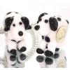 Murano Glasbedel Hond Zwart Wit