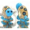 Murano Glasbedel Schildpad met Blauwe Stippen