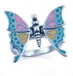 Zilveren Ring Pastel Vlinder met beweegbare vleugels