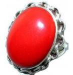 Zilveren Ring Chain & Coral