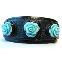 Lederen Armband Turquoise Roses