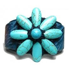 Lederen Armband Blue Flower