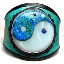Lederen armband Yin en Yang